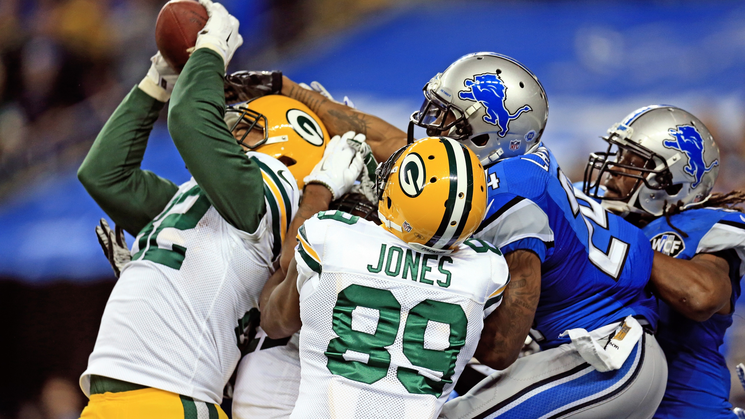 Richard Rodgers catches hail mary in Packers win over Lions