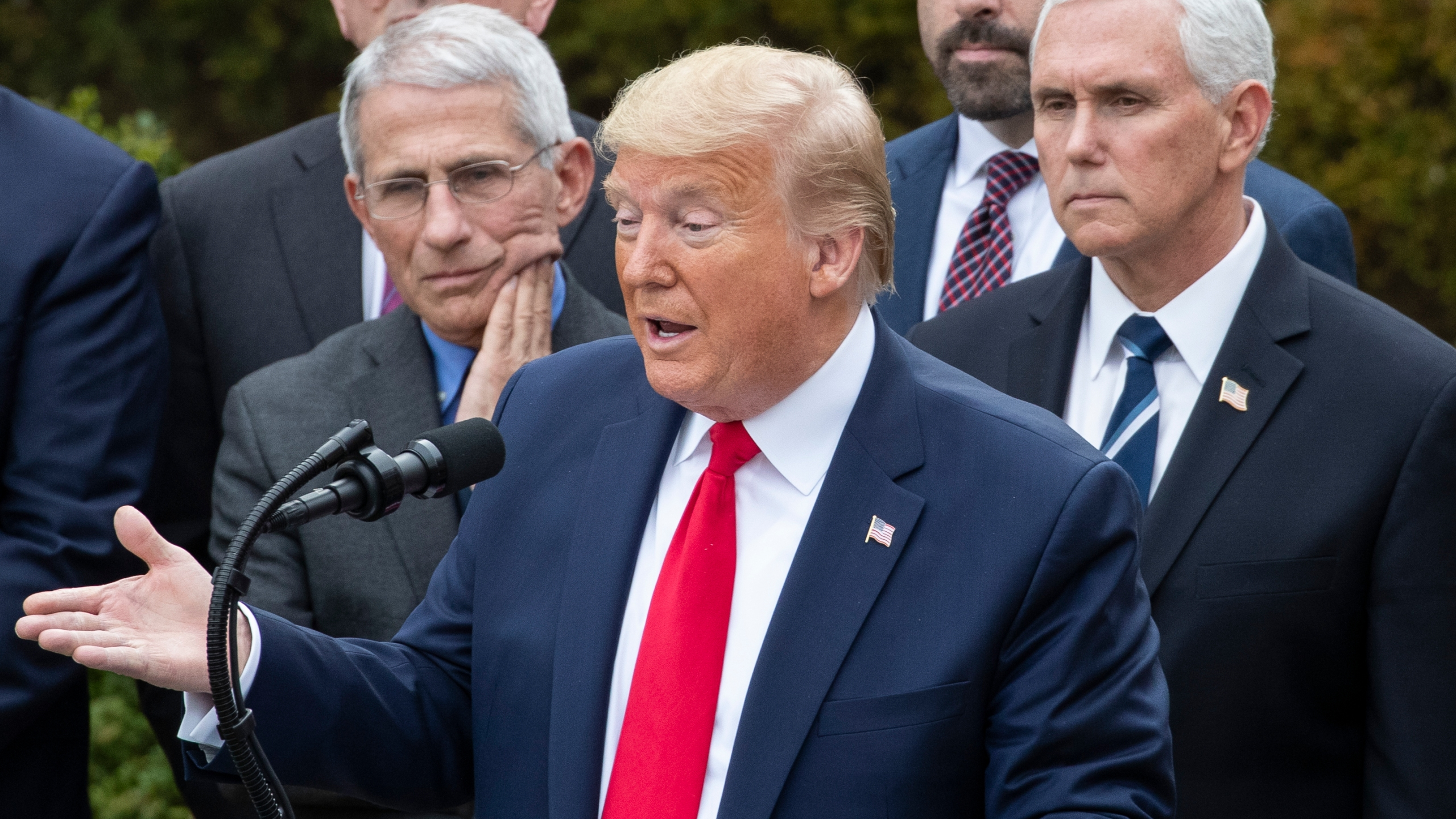 Donald Trump, Anthony Fauci, Mike Pence