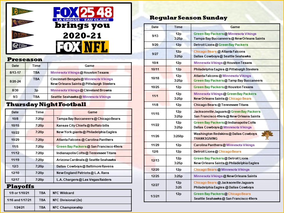 FOX NFL Football Schedule 2020-21 Season