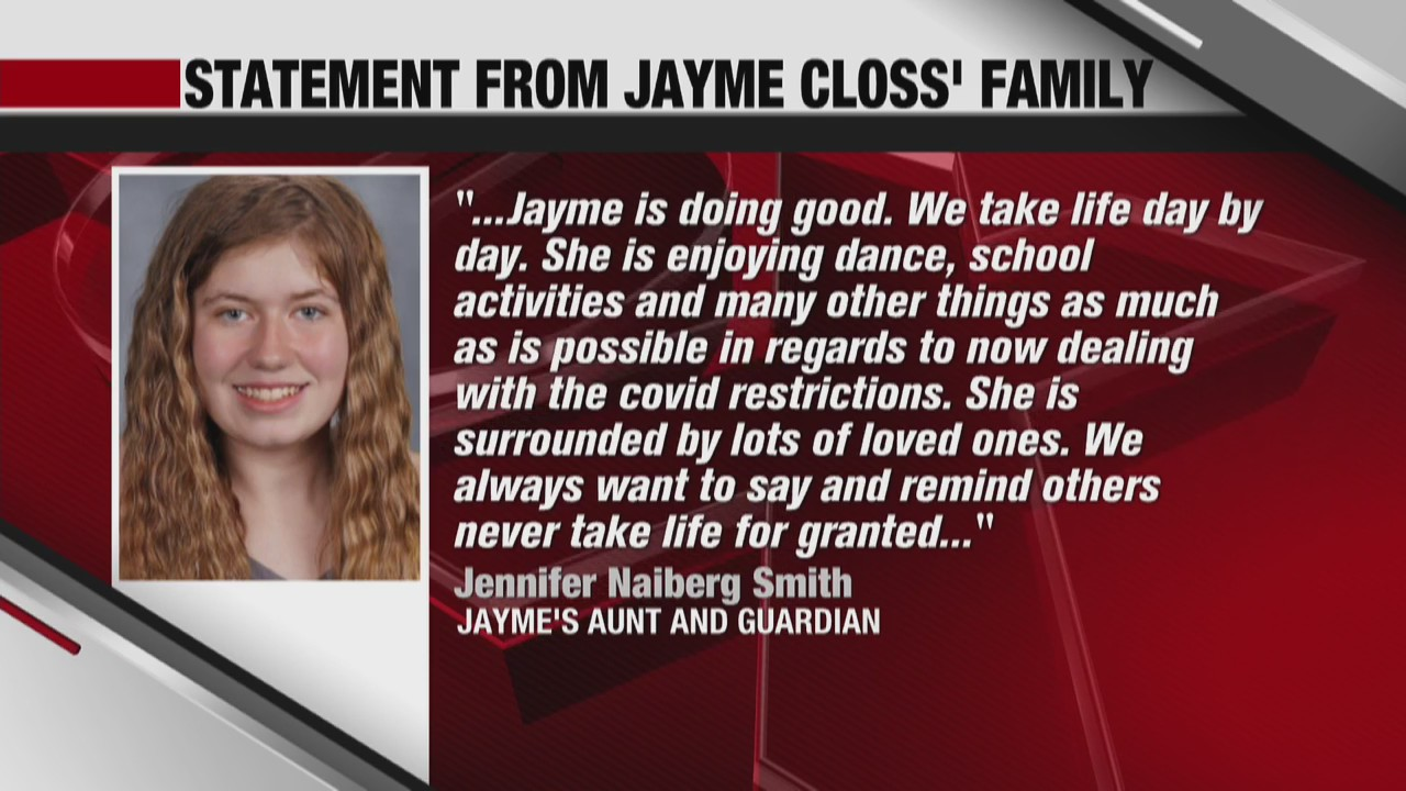 Statement form Jayme Closs' family