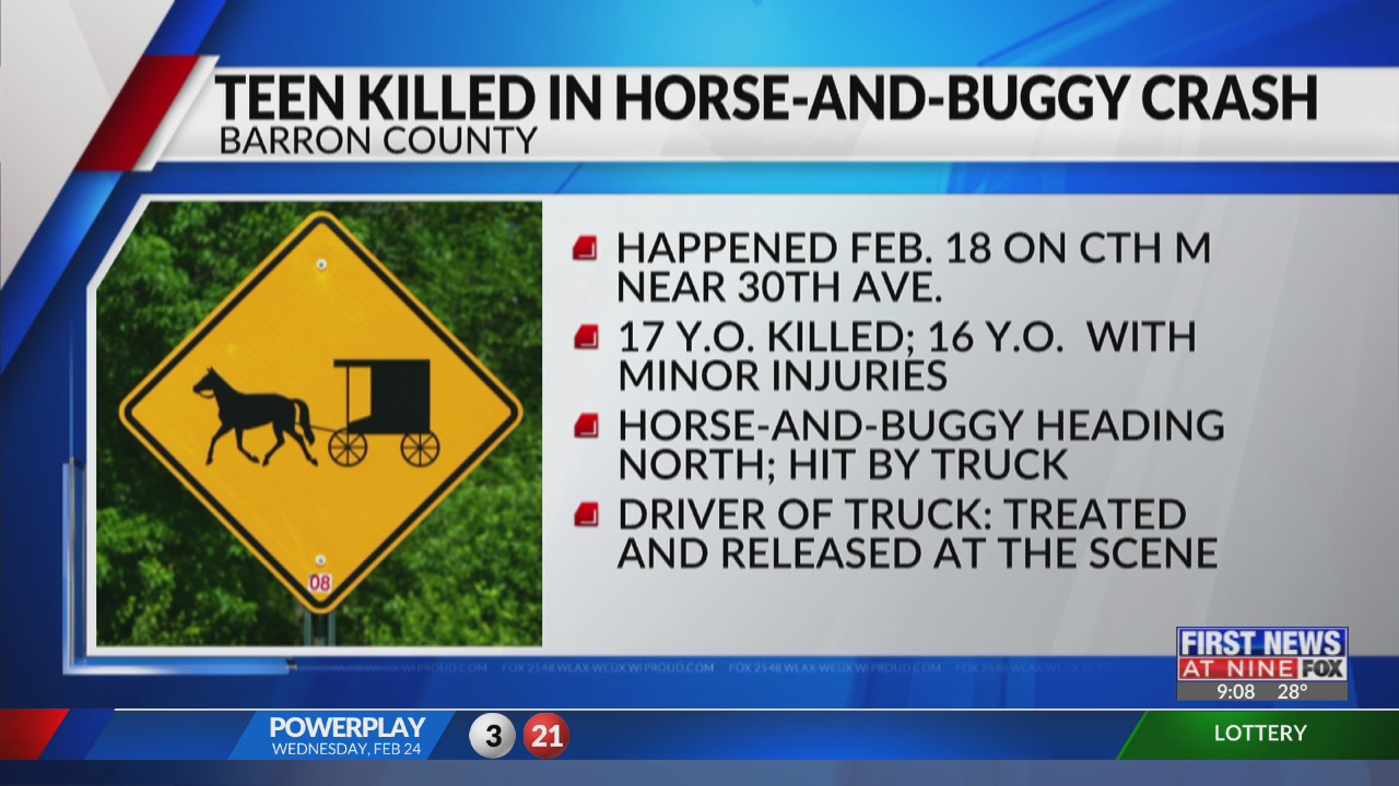 Barron County teen killed in horse-and-buggy crash