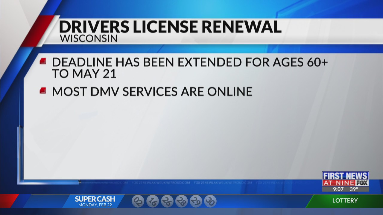 Wisconsin drivers license renewal deadline extended to May 21