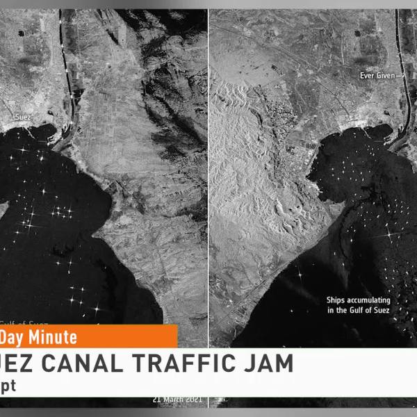 Suez Canal Traffic Jam Can Be Seen from Space
