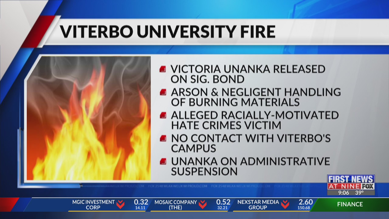Student who causes fire at Viterbo University is released with a signature bond