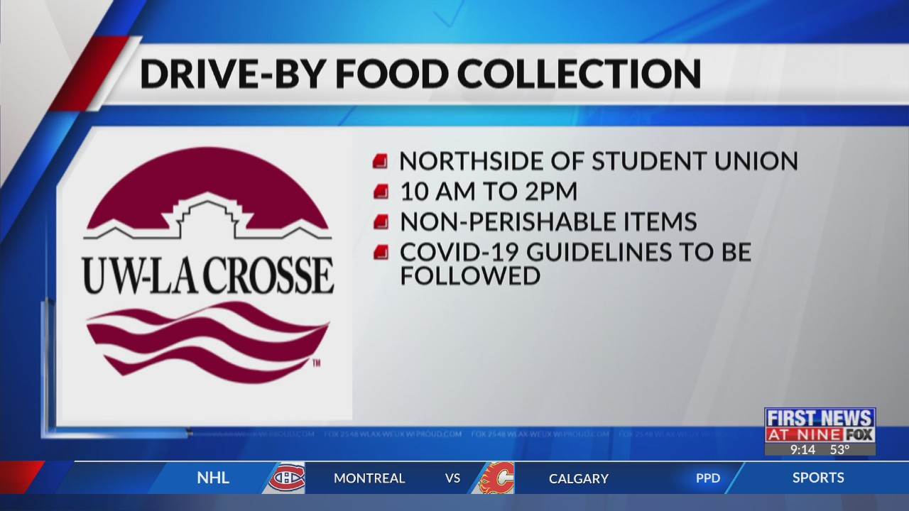 UW-La Crosse students collecting food for those in need on April 23
