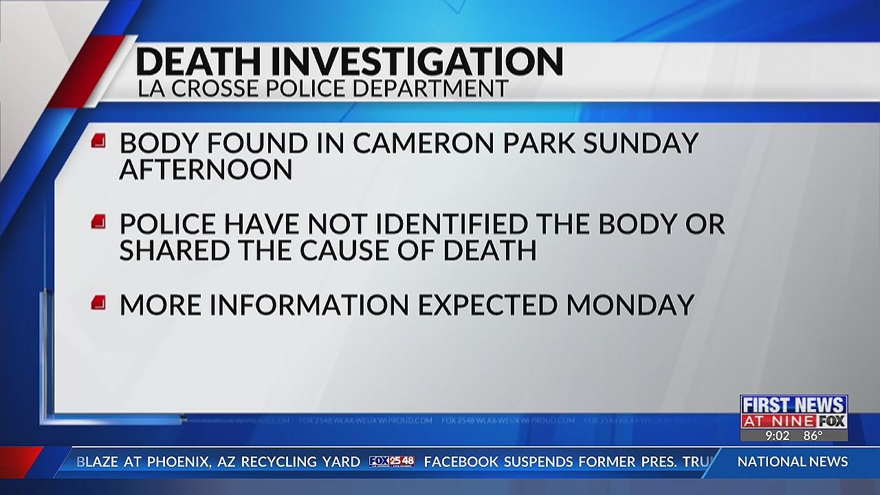 Death Investigation underway as La Crosse police find body in Cameron Park