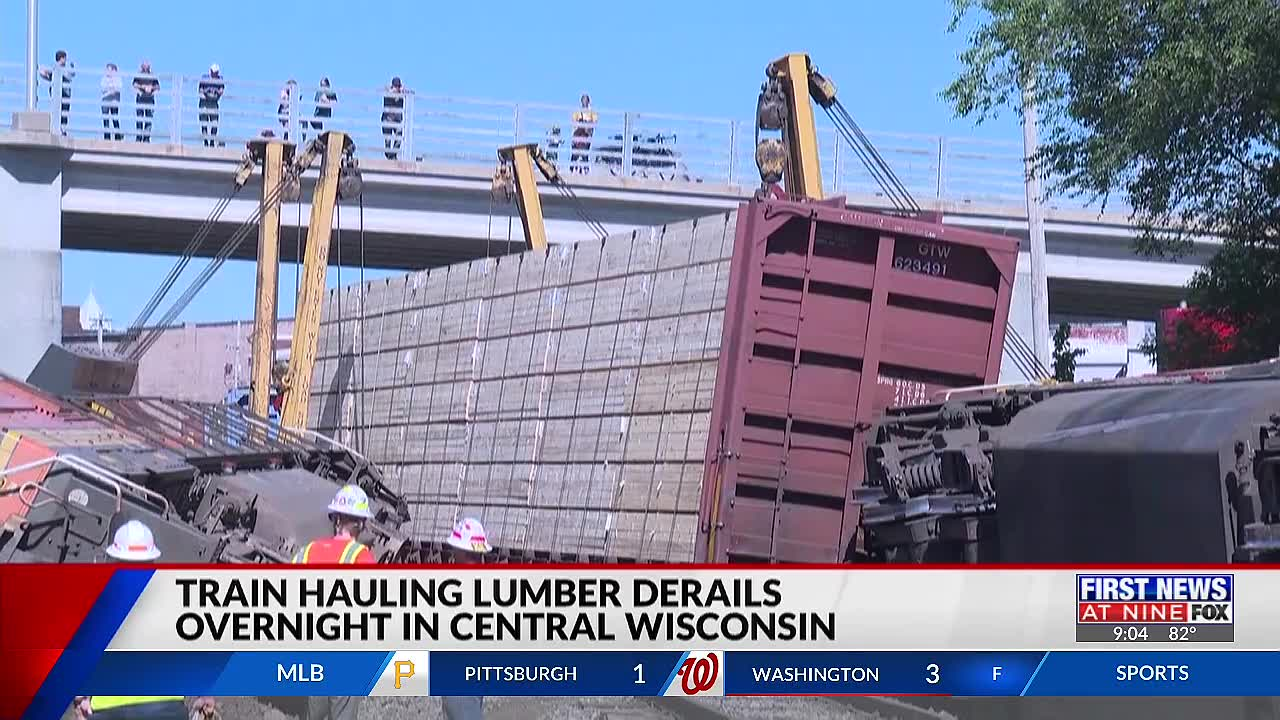 Train hauling lumber derails overnight in central Wisconsin