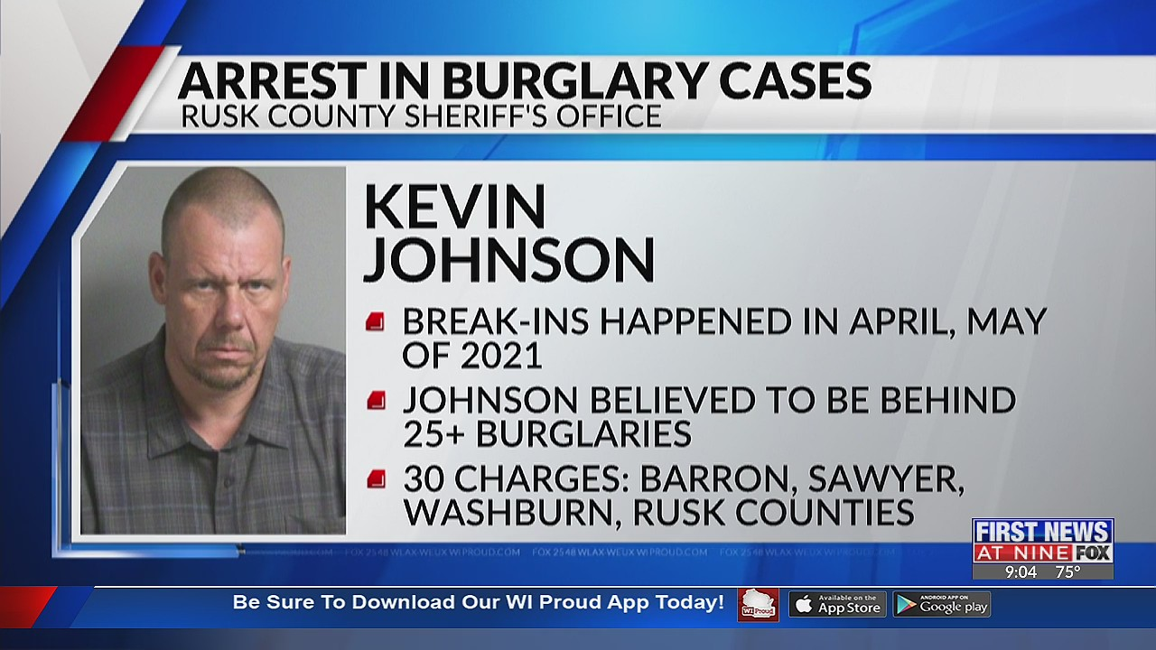 Turtle Lake man arrested in Rusk Co. after committing over 2 dozen burglaries
