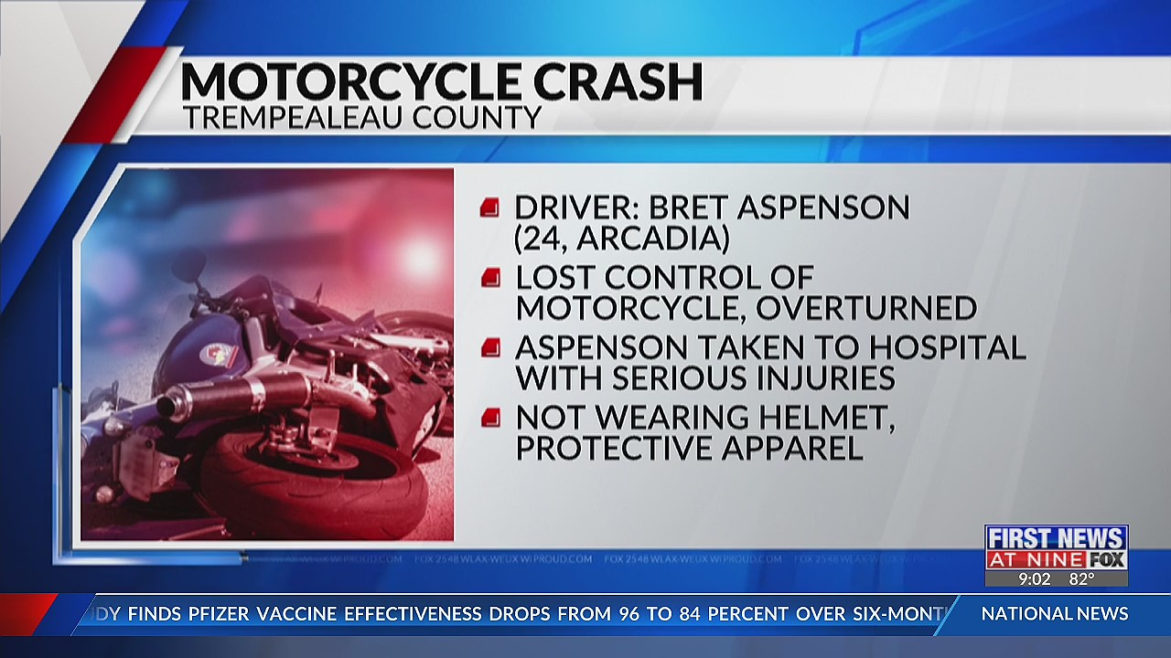 24-year-old hurt in motorcycle crash in Trempealeau County